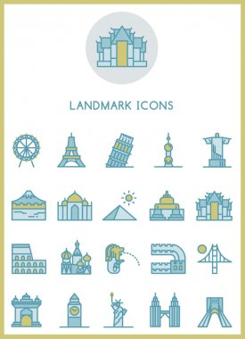 Landmark icons set vector design concept