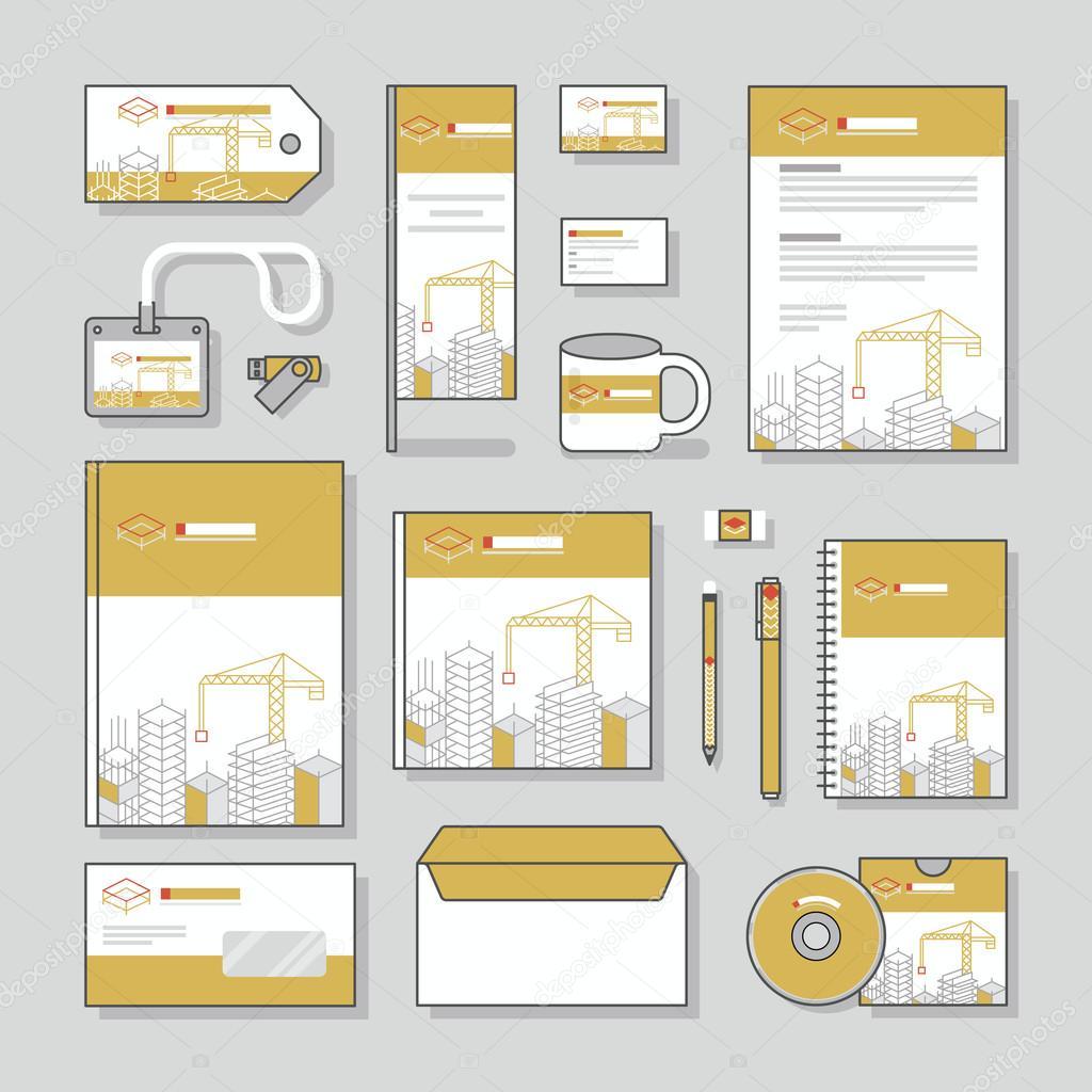 Bau Bau Unternehmensidentität Vorlage Briefpapier-Design-Set und ...