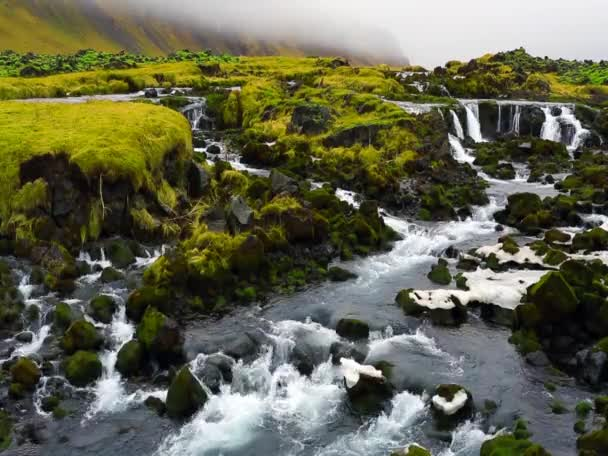 Scenic Iceland river and waterfalls