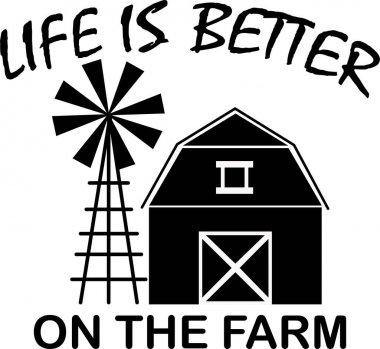 Life is better on the farm on white background. Farm Vector illustration. icon