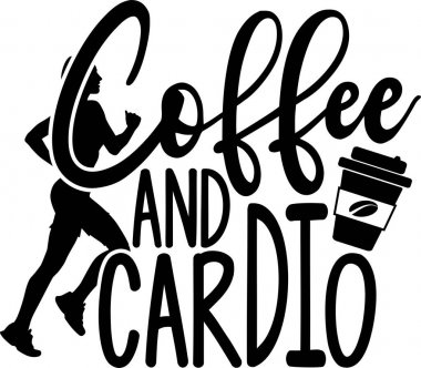 Coffee and cardio on the white background. Vector illustration. icon