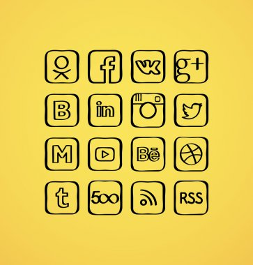 Cartoon vector set of social media icons