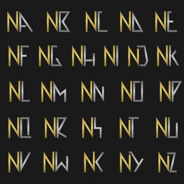 N and other alphabet letters monogram logo stock vector