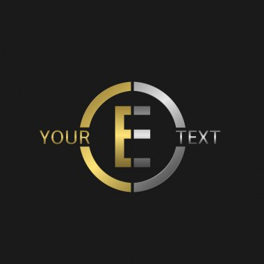 Letter E Business round logo with golden and silver elements for your company brand stock vector
