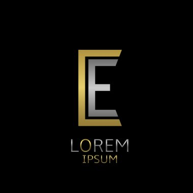 Golden C and silver E letters logo template for your business company stock vector