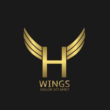 Wings H letter logo