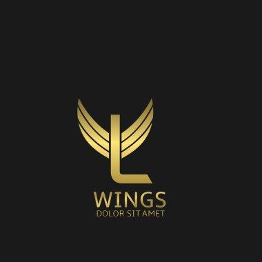 Wings L letter logo