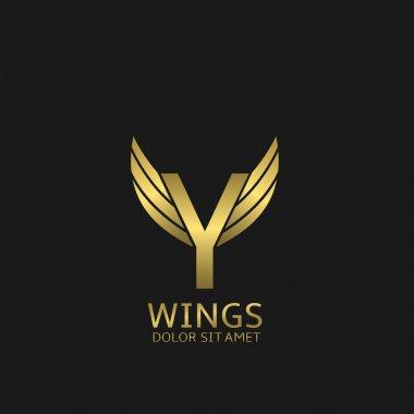 Golden Y letter logo