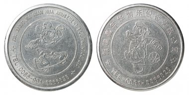 Two game medal with the image of children's characters Mickey Mouse and Donald Duck