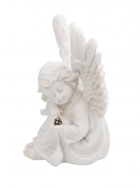 Little angel with emerald in the hands of