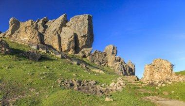 Stairs to the sacred mountain Beshbarmak(Five fingers).Azerbaija