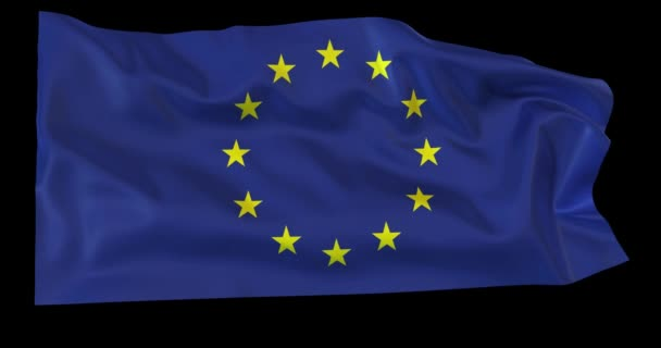 Evolving in the wind European Union flag with opacity map