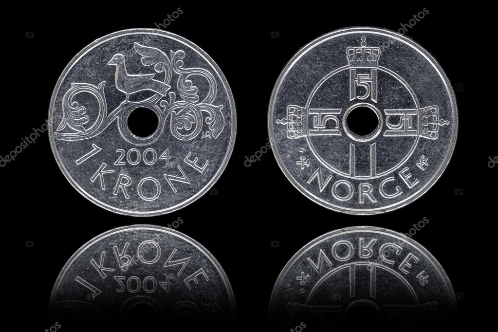Vorderseite Und Rückseite Eine Norwegische Krone Münze Stockfoto