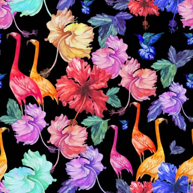 pattern with flamingos and exotic flowers