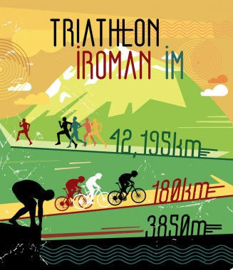 Retro triathlon poster.