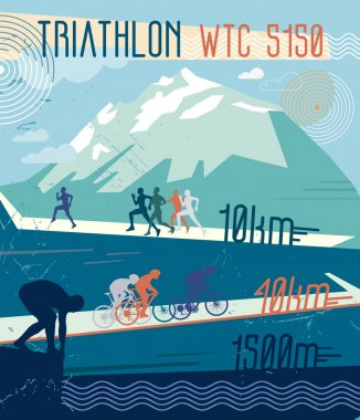 sports of triathlon in the mountains