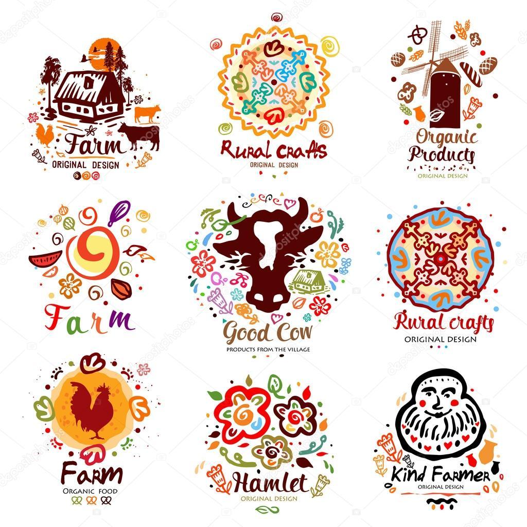 Farm logo set of symbols and elements stock vector peasants farming and craft signs symbols farm crop products the set of symbols and elements vector by yanakalinina22 buycottarizona