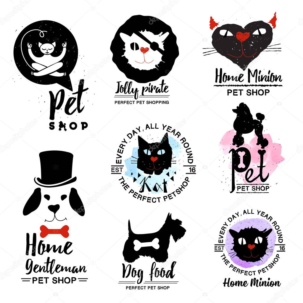 Pet shop logos. dog and cat logotype sign