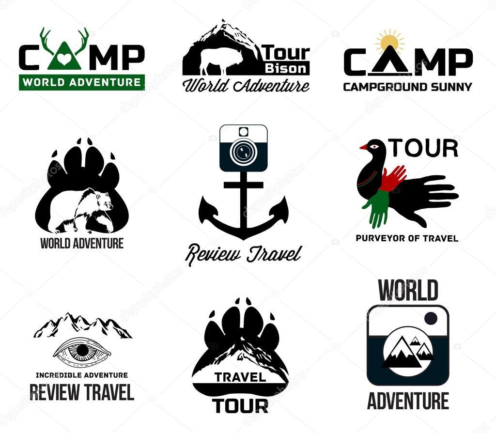 Set adventure and tourism logo — Archivo Imágenes Vectoriales ...
