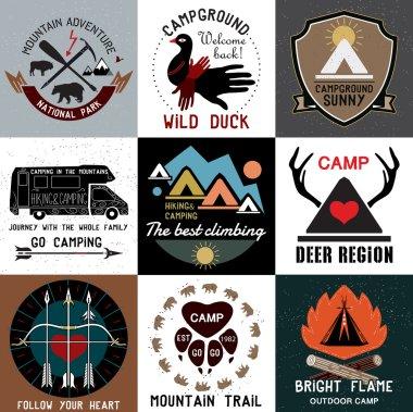 Set of vintage camping logos