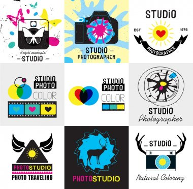 Set of vintage photo studio logo