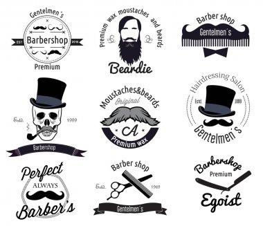 Set of retro barber shop logo