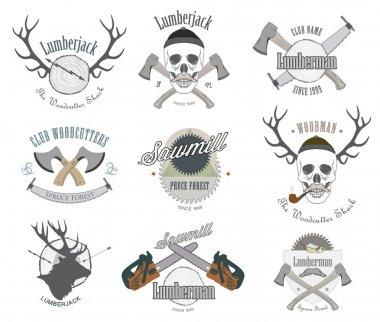 Set of vintage lumberjack labels