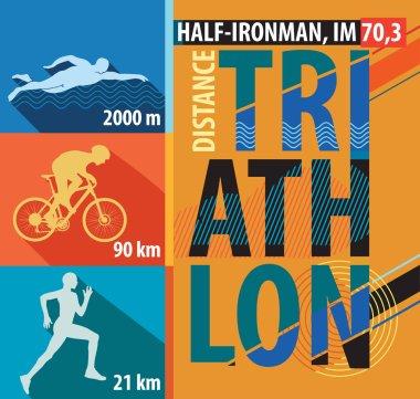 illustration of triathlon, flat design