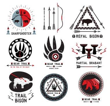 Set of vintage hunting, ethnics logo