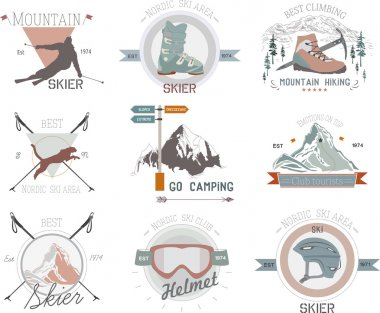 Set icons skiing and mountaineering