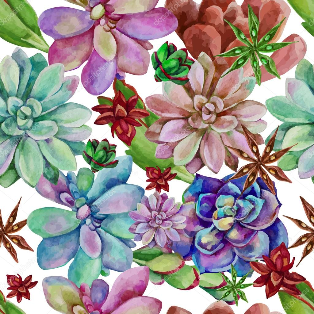 watercolor seamless pattern of succulents