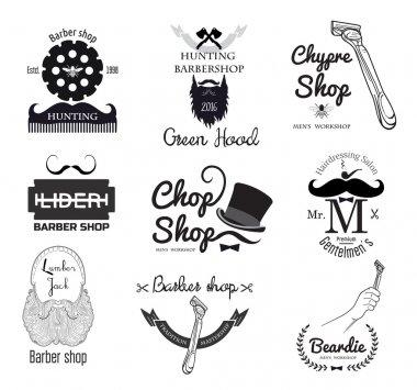 Set of retro men's barber shop logo