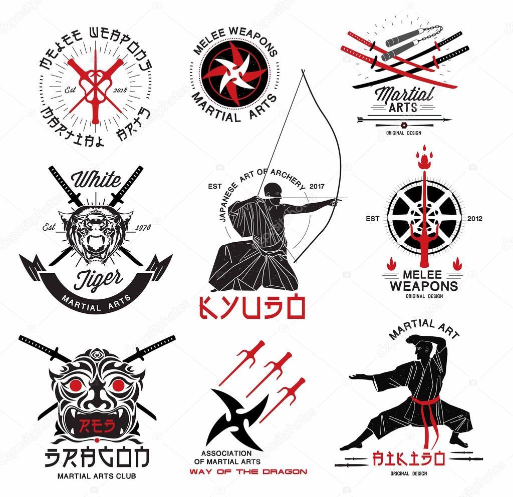 Set of martial arts logos, emblems and design elements stock vector