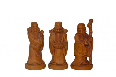 Wooden Fu Lu Shou statues