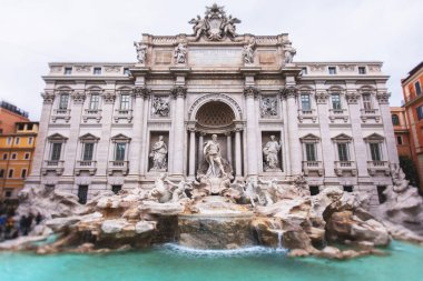 The Trevi Fountain (in Italian: Fontana di Trevi), a fountain in the Trevi district in Rome, Italy, Baroque fountain, with a big crowd of tourists around