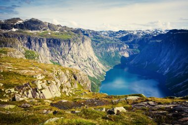 Beautiful norwegian landscape with mountains on the the way to trolltunga