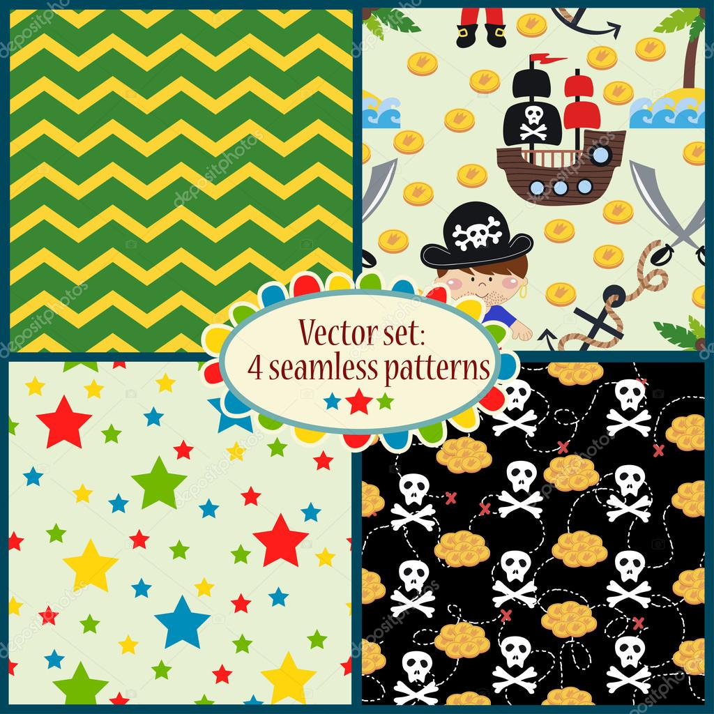 Pattern with cartoon pirates illustrations
