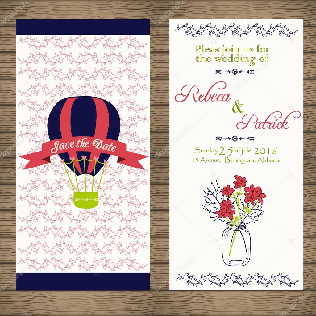 Einladung Zur Hochzeit Im Vintage Stil Hellen Retro Ornament Ist