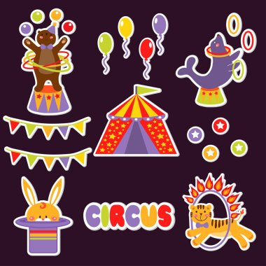 Set with cute circus animals.