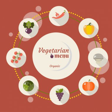 Set of vegetables icons into flat style
