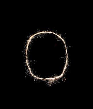Letter O on black background