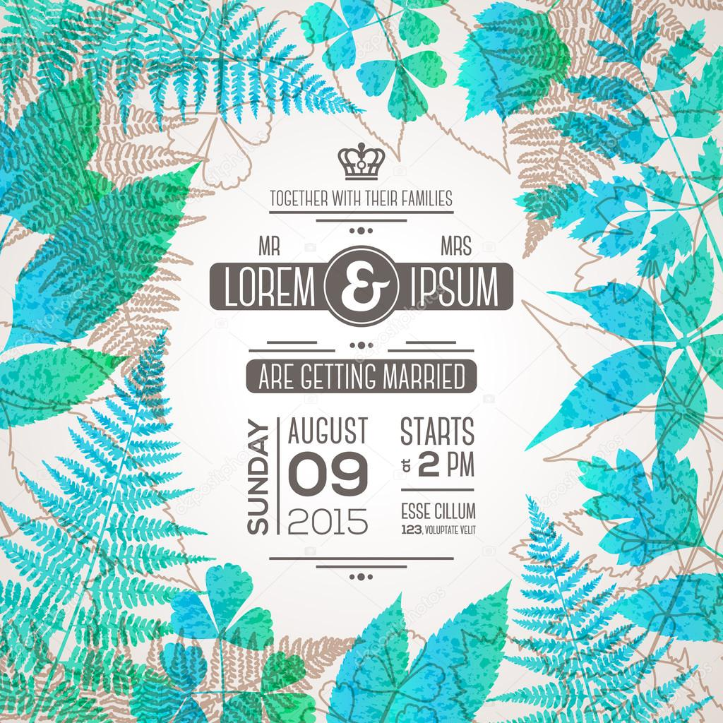 Wedding invitation card design with forest leaves — Stock Vector ...
