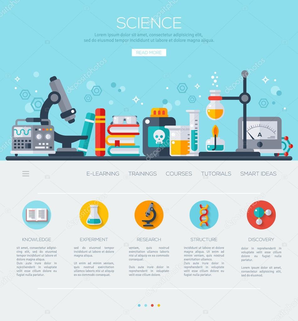 1 つのページ web テンプレート科学研究室 ストックベクター