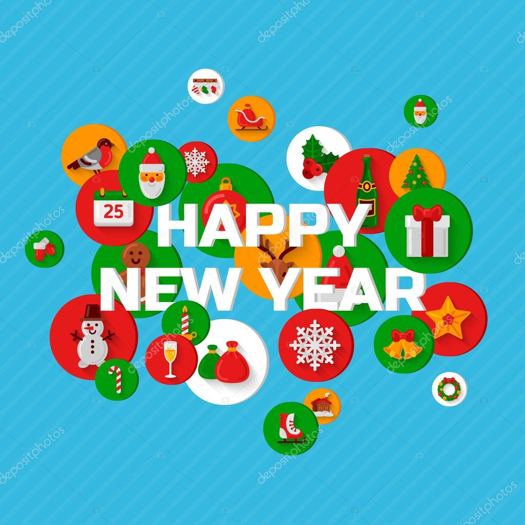 Happy New Year Greetings With Holiday Flat Icons Stock Vector