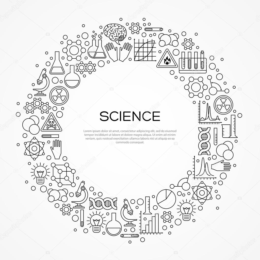 Kreis-Rahmen mit wissenschaftlichen Linie Symbole — Stockvektor ...