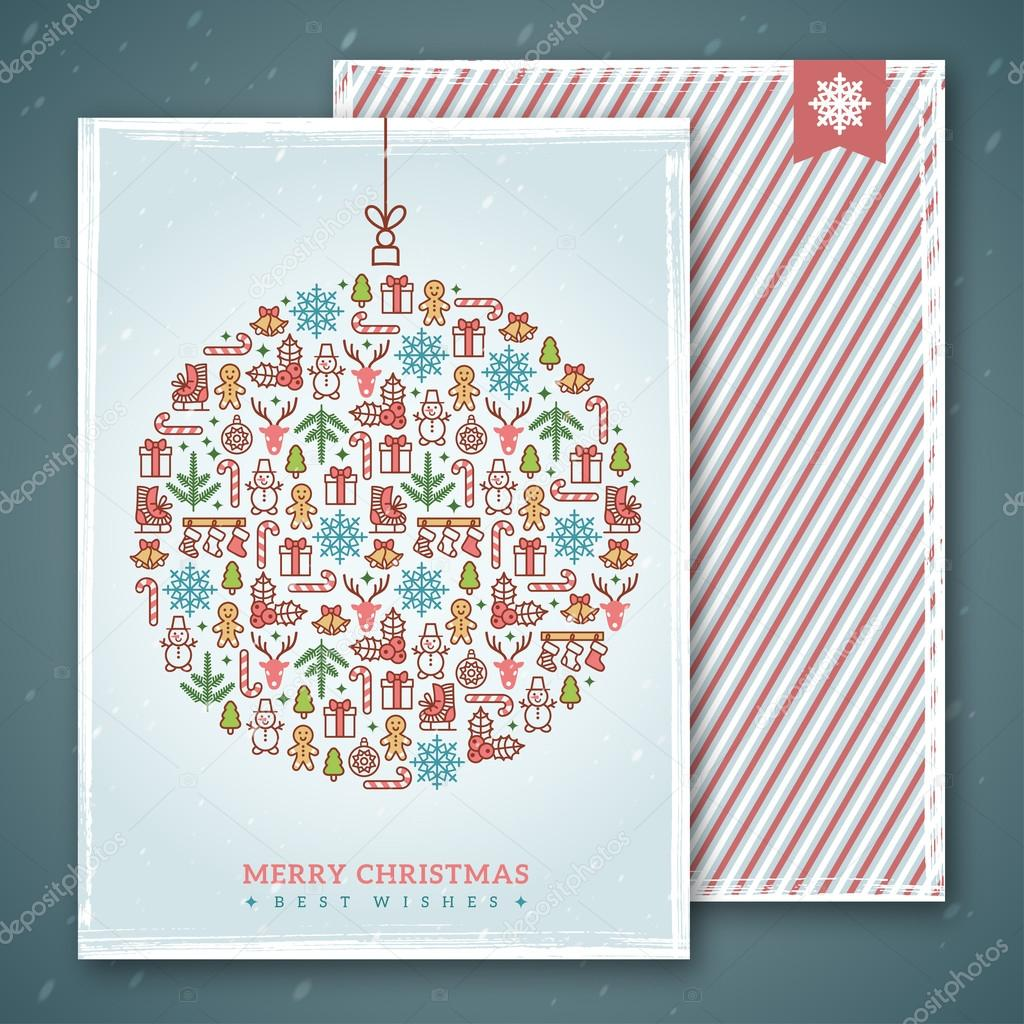 Christmas cards design. Vector illustration. New year greetings ...