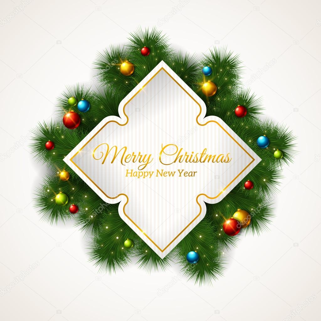 Vector Merry Christmas Frame with fir tree branches and baubles.
