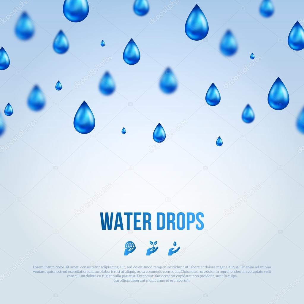 Water Blue Drops. Vector illustration.