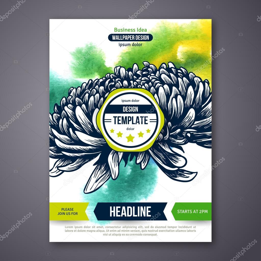 Vektor-Poster-Vorlage mit Wasserfarben malen Textur und Blume ...