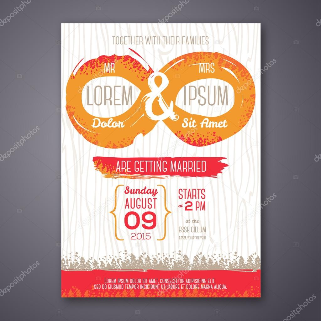 Wedding invitation card with grunge endless symbol stock vector wedding invitation card with grunge endless symbol vector illustration endless love painted design elements vector by kotoffei stopboris Image collections
